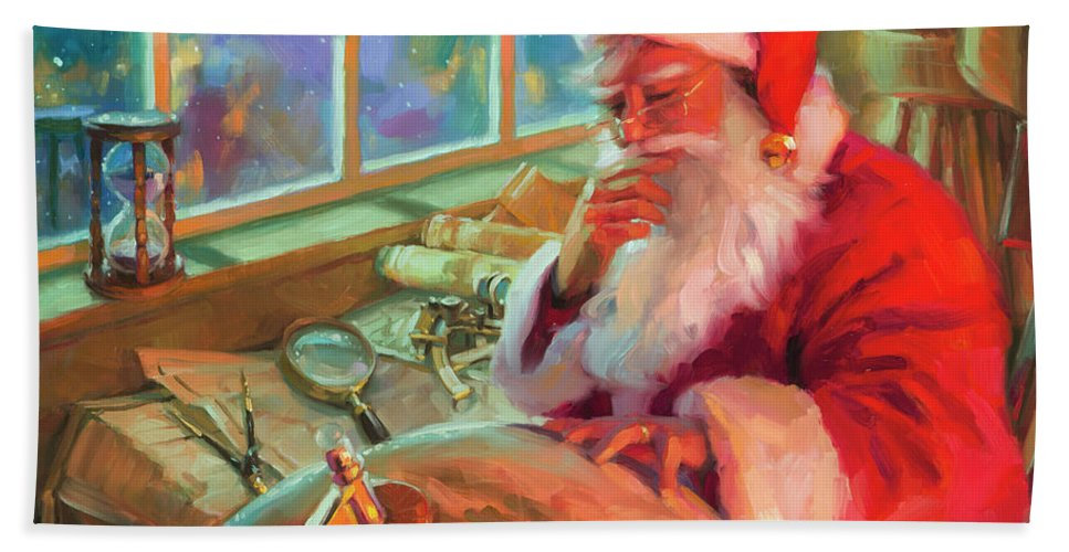 Christmas Hand Towel featuring the painting The World Traveler by Steve Henderson