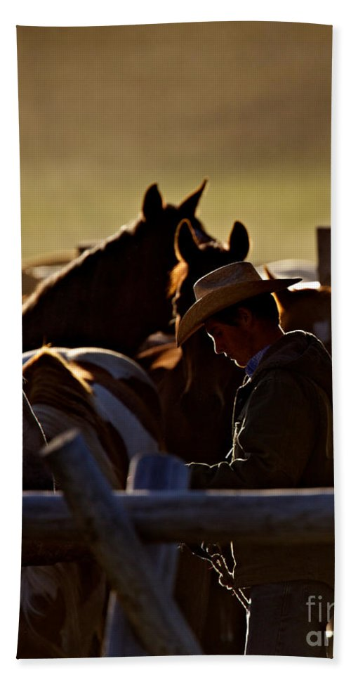Wrangler Bath Sheet featuring the photograph The Wrangler by Daryl L Hunter