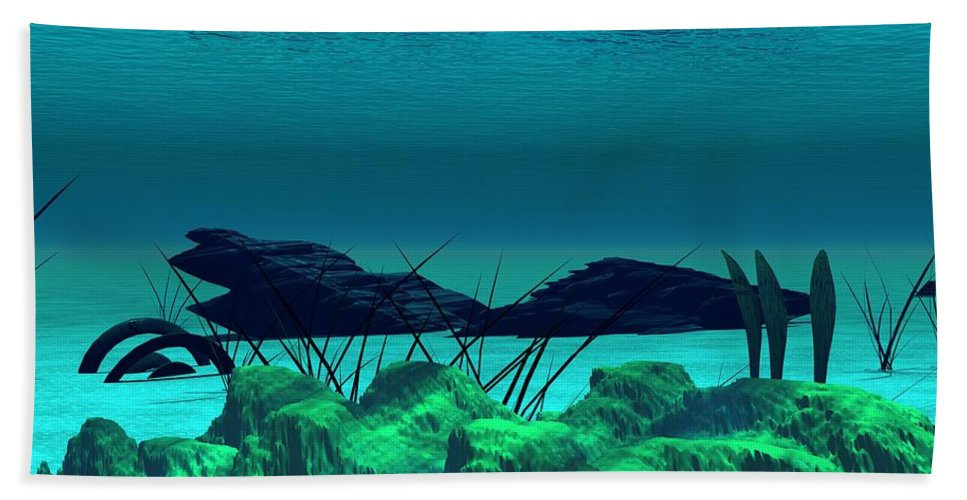 Fantasy Hand Towel featuring the digital art The Wreck Diving The Reef Series by David Lane