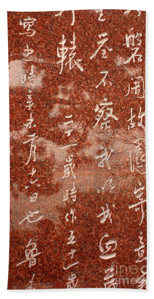 Bath Sheet featuring the photograph The Writings Of Lu Xun With Reflection Of Man by Carol Groenen