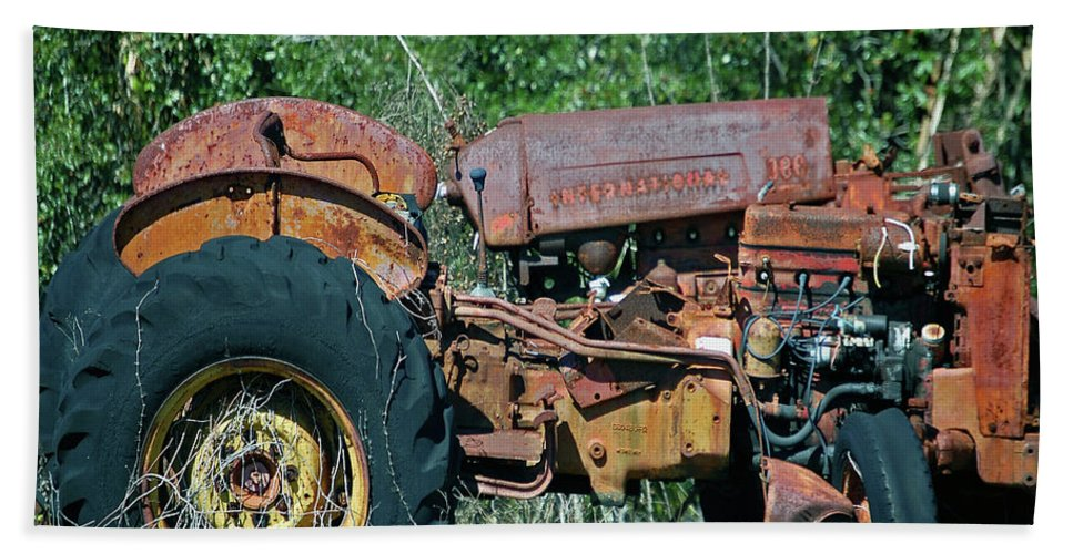 Tractor Hand Towel featuring the digital art The Wrong Side Of The Tracks by DigiArt Diaries by Vicky B Fuller
