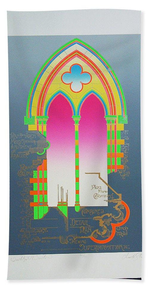 Church Bath Sheet featuring the mixed media The Wurlitzer Window by Charles Stuart