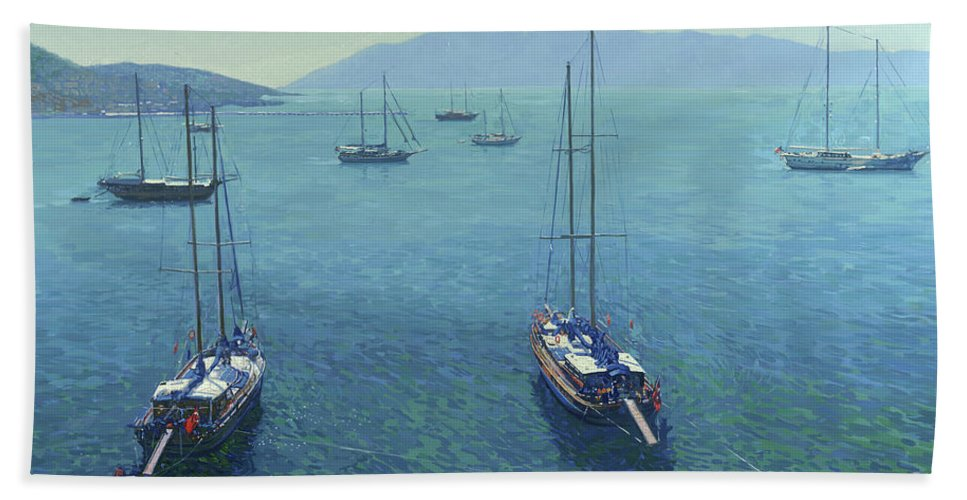 Yachts Hand Towel featuring the painting The Yachts by Simon Kozhin