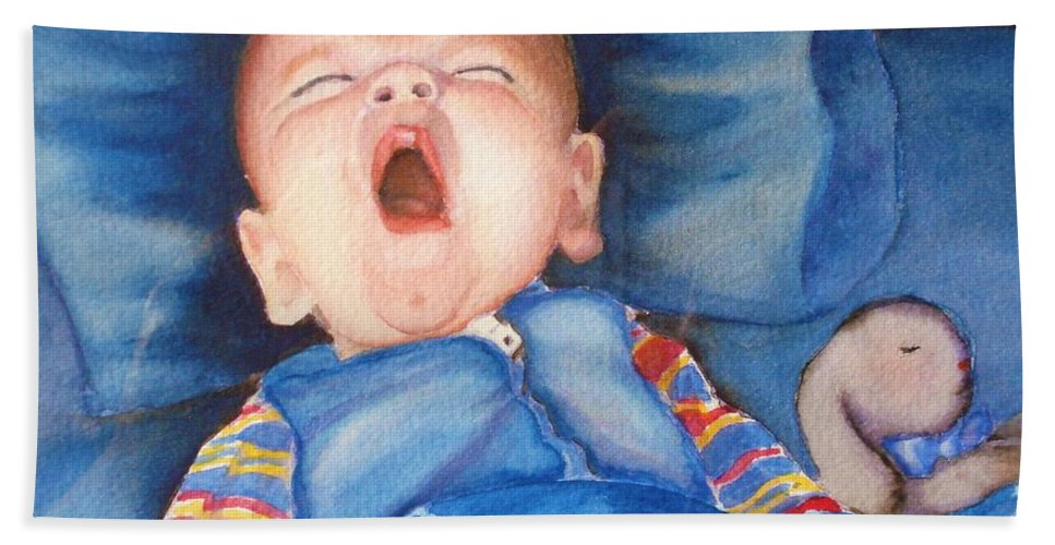 Baby Bath Sheet featuring the painting The Yawn by Marilyn Jacobson