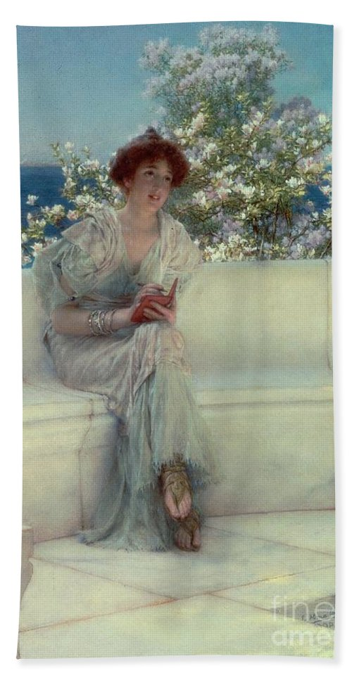 The Bath Towel featuring the painting The Year's At The Spring - All's Right With The World by Sir Lawrence Alma-Tadema