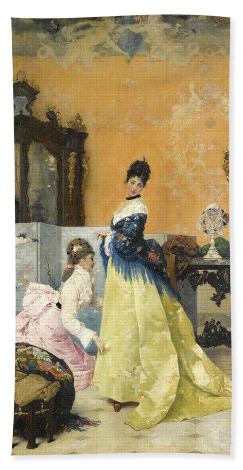 Vincente Capobianchi Bath Sheet featuring the painting The Yellow Dress by Vincente Capobianchi