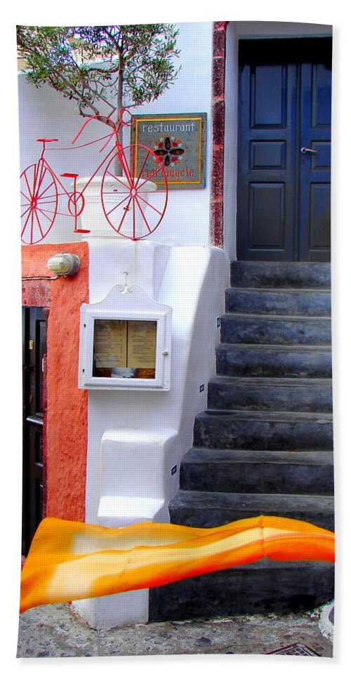 Santorini Hand Towel featuring the photograph The Yellow Scarf by Ana Maria Edulescu