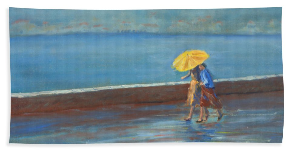 Rain Bath Towel featuring the painting The Yellow Umbrella by Jerry McElroy