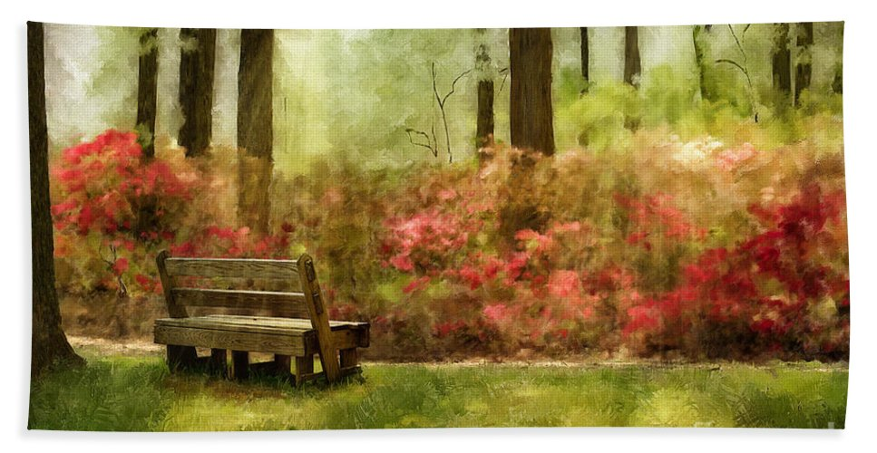 Bench Bath Towel featuring the digital art The You You Used To Be by Lois Bryan