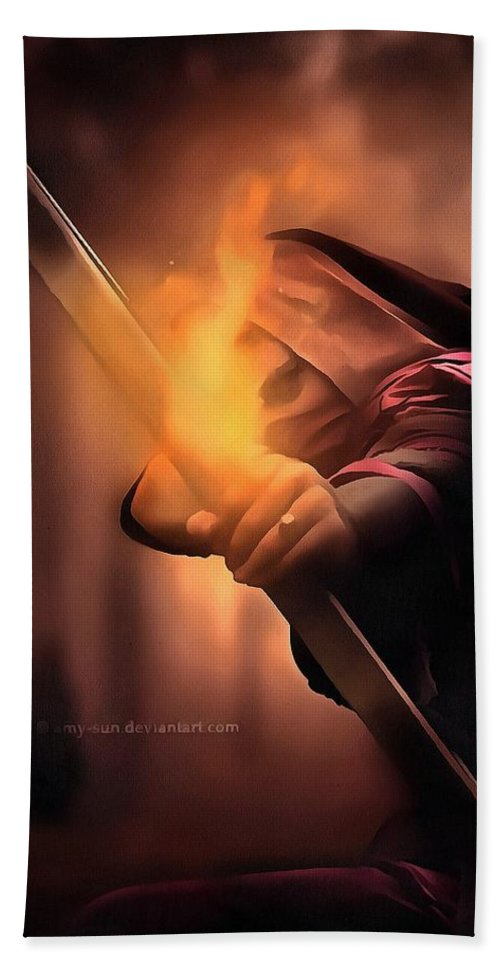 The_archer_by_amy Hand Towel featuring the digital art Thearcher by Kirana Job