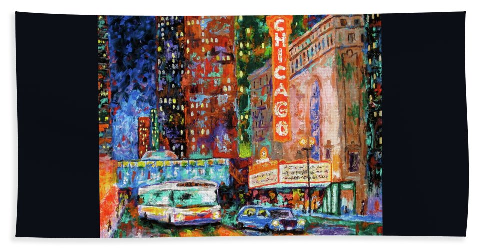Chicago Theater Hand Towel featuring the painting Theater Night by J Loren Reedy
