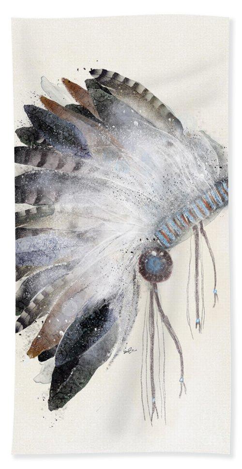 Native Headdress Bath Towel featuring the painting The Headdress by Bri Buckley