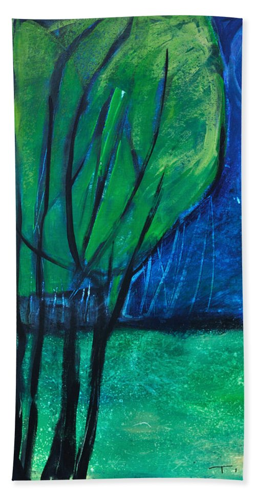 Trees Bath Towel featuring the painting Then Came Evening by Tim Nyberg