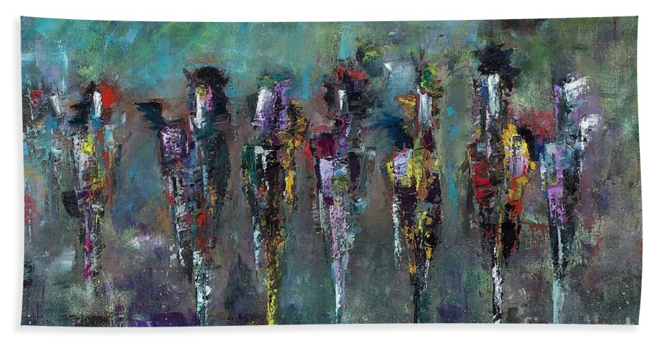 Abstract Art Hand Towel featuring the painting Then Came Seven Horses by Frances Marino