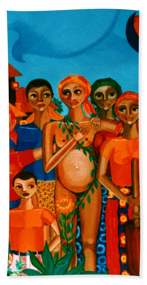 Pregnant Women Bath Towel featuring the painting There Are Always Sunflowers For Those Waiting A New Life by Madalena Lobao-Tello