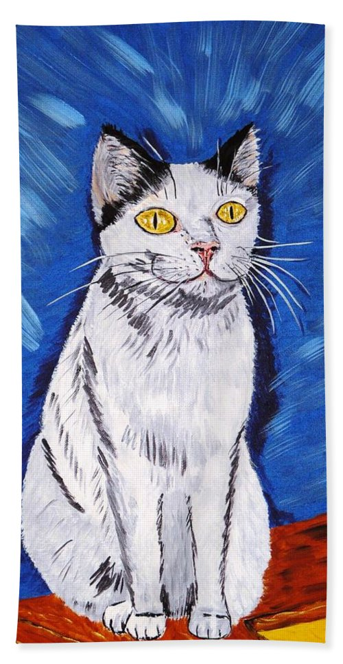 Cat Bath Towel featuring the painting There Is A Bird by Valerie Ornstein