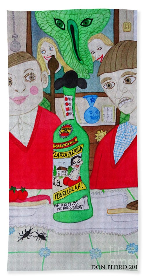 Snack Hand Towel featuring the painting There Is No Coke by Don Pedro DE GRACIA