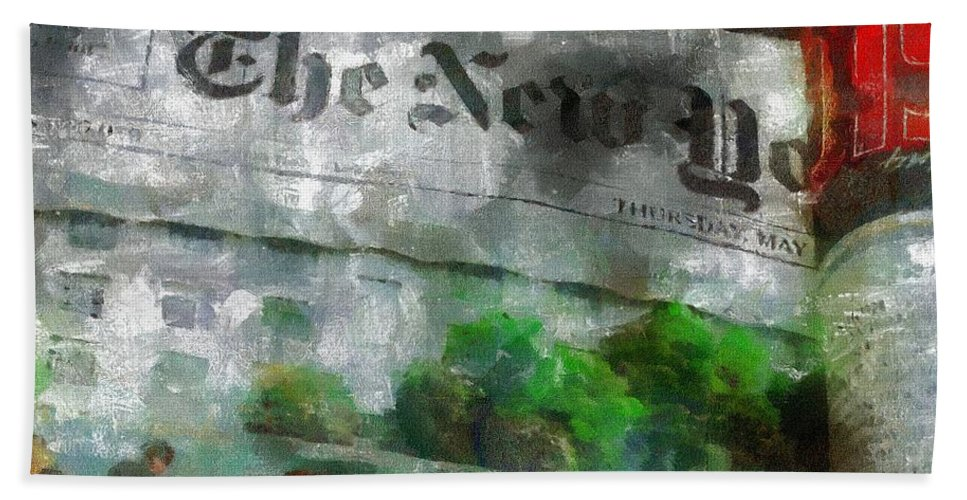 Editorial Bath Sheet featuring the painting There Is No News Fit To Print by RC DeWinter