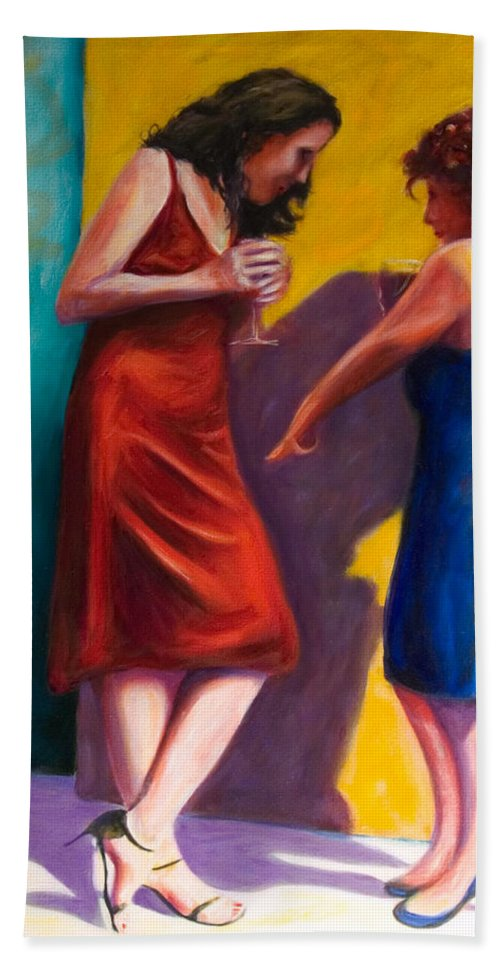 Figurative Bath Sheet featuring the painting There by Shannon Grissom