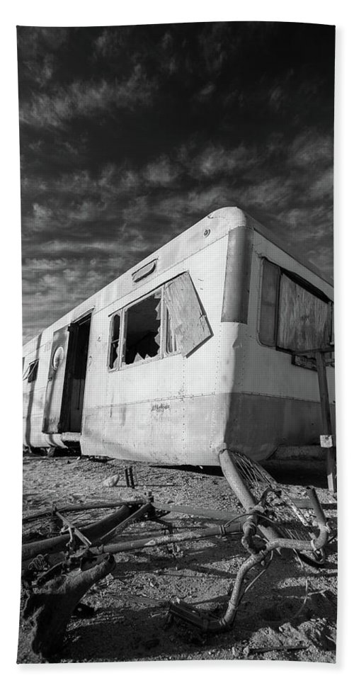 Abandoned Bath Sheet featuring the photograph Theres My Bike Black And White by Scott Campbell