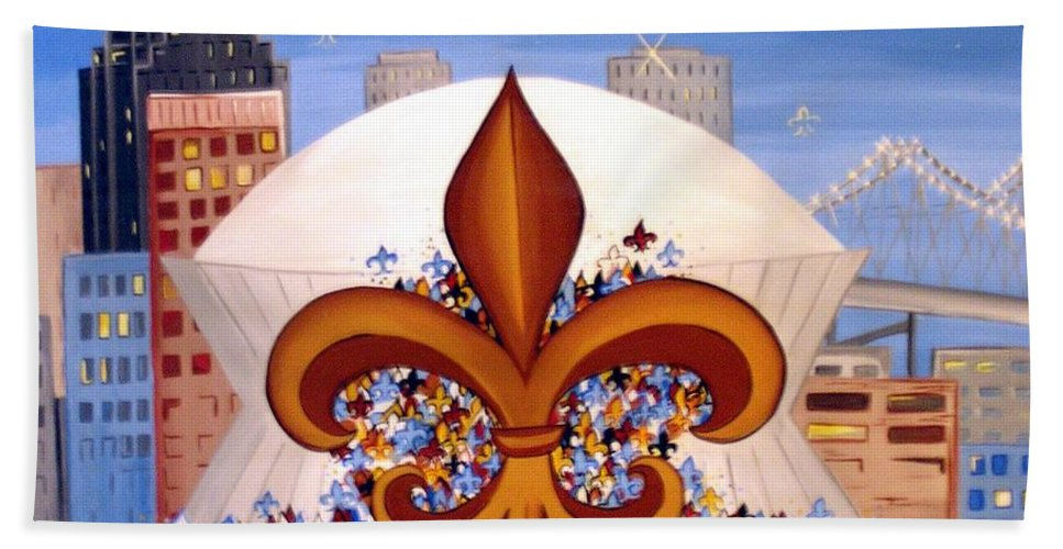 Superdome Bath Sheet featuring the painting There's No Place Like Dome by Valerie Carpenter