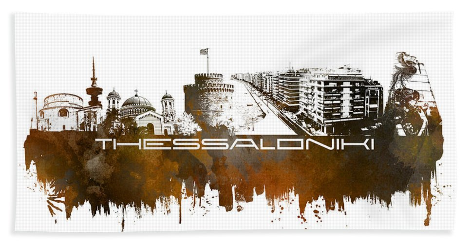 Thessaloniki Bath Sheet featuring the digital art Thessaloniki Skyline City Brown by Justyna JBJart