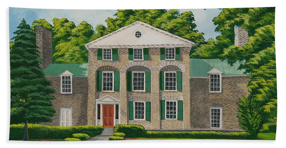 Theta Chi Frat House Bath Towel featuring the painting Theta Chi by Charlotte Blanchard