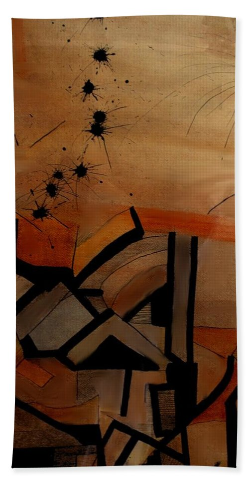 Abstract Hand Towel featuring the drawing They Came From Afar by Ian MacDonald
