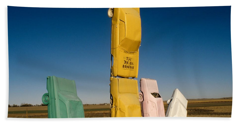 Car Henge Hand Towel featuring the photograph They Have Landed by Jerry McElroy
