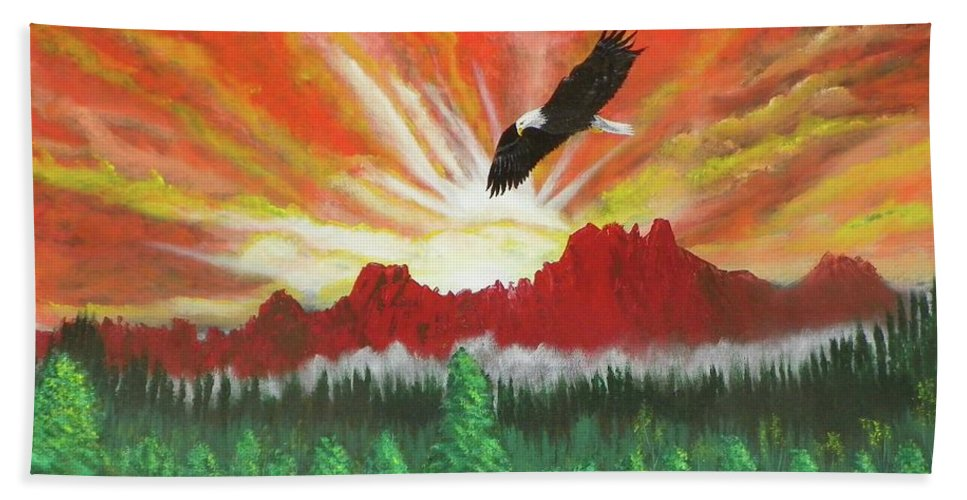 Acrylic Hand Towel featuring the painting They That Wait Upon The Lord  Isa 40 31 by Laurie Kidd