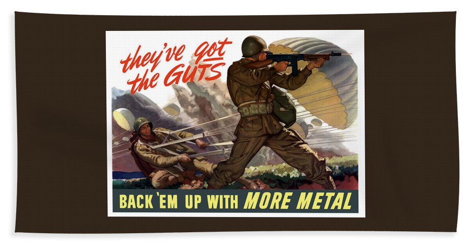Airborne Bath Towel featuring the painting They've Got The Guts by War Is Hell Store