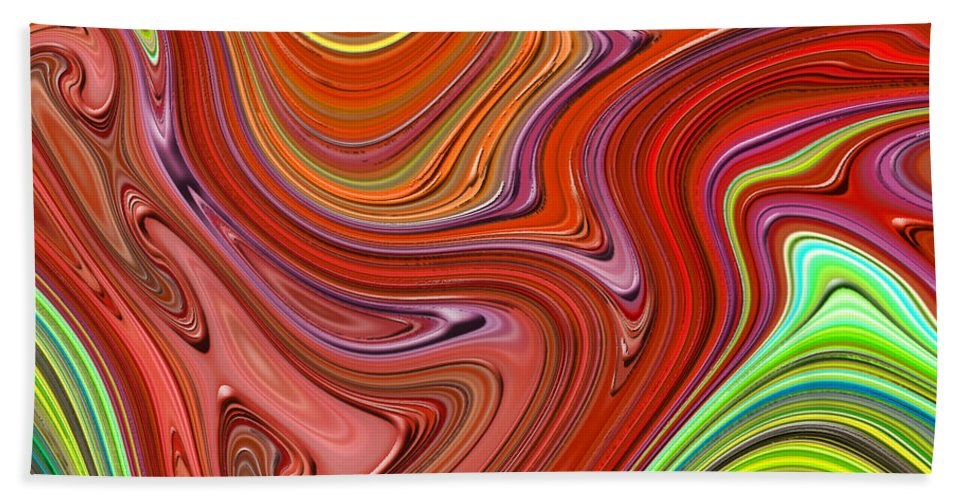 Colorful Hand Towel featuring the digital art Thick Paint Orange Abstract by Melissa A Benson