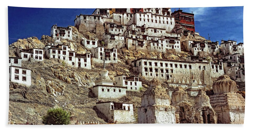 Ladakh Hand Towel featuring the photograph Thiksey Monastery by Steve Harrington
