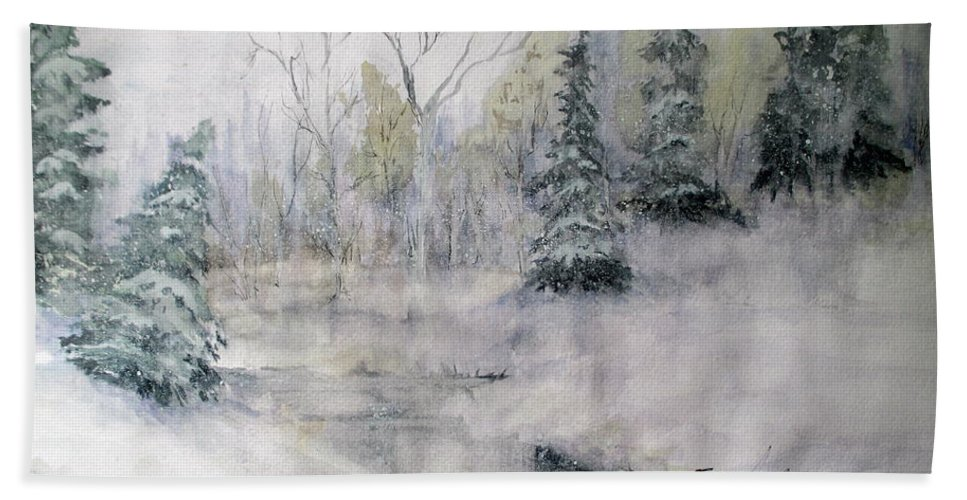 Watercolor Bath Sheet featuring the painting Thin Ice by April McCarthy-Braca