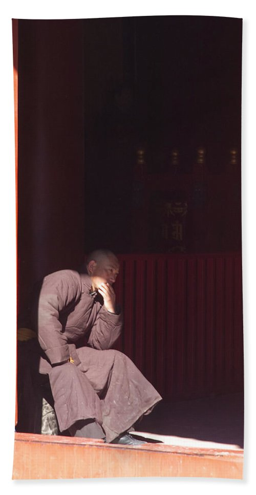 China Hand Towel featuring the photograph Thinking Monk by Sebastian Musial