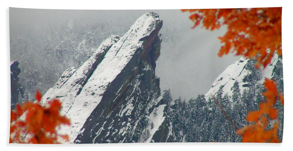 Flatirons Boulder Colorado Winter Fall Autumn Nature Rocky Mountains Zen Simple Hand Towel featuring the photograph Third Flatiron by George Tuffy