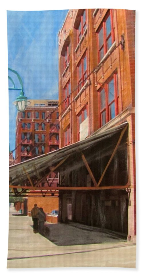 Milwaukee Hand Towel featuring the mixed media Third Ward - Broadway Awning by Anita Burgermeister
