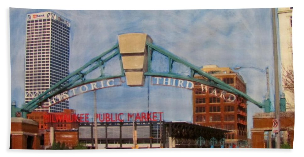 Milwaukee Hand Towel featuring the mixed media Third Ward Arch Over Public Market by Anita Burgermeister
