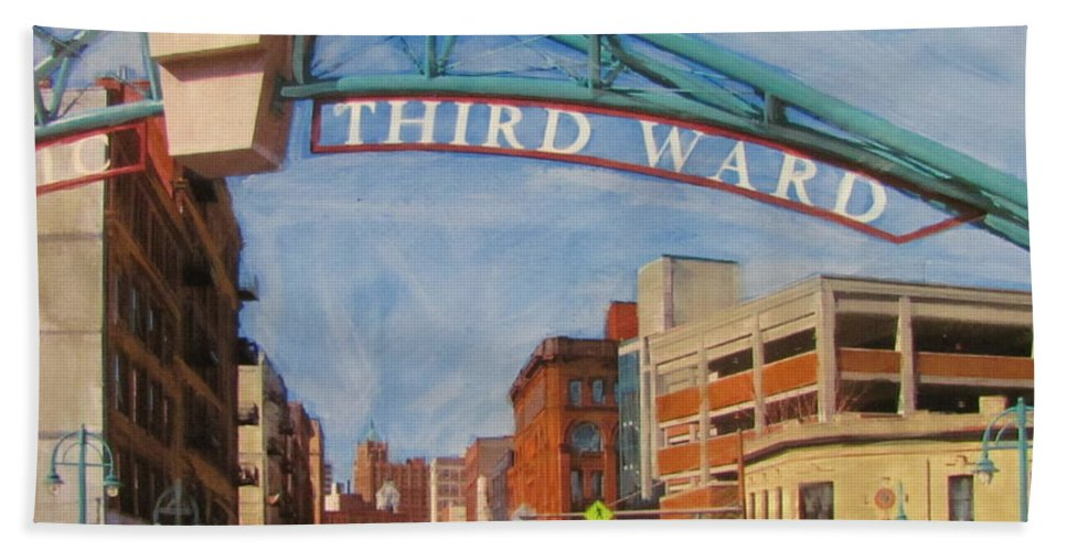 Milwaukee Hand Towel featuring the mixed media Third Ward Entry by Anita Burgermeister