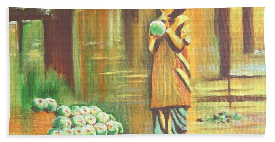 Thirst Hand Towel featuring the painting Thirst Quenched by Usha Shantharam
