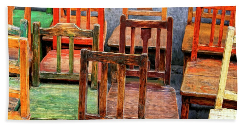 Old Chairs Bath Sheet featuring the painting Thirteen Chairs by Dominic Piperata