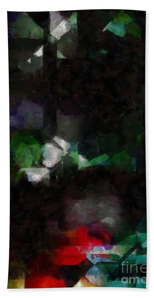 Abstract Hand Towel featuring the painting This Gulf's On Fire by RC DeWinter