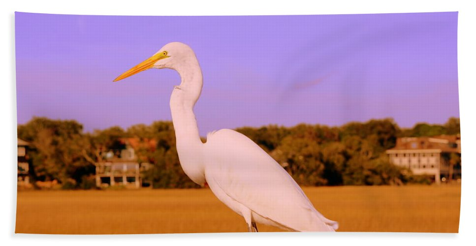 Great White Egret Bath Sheet featuring the photograph This Is My Good Side by Lisa Wooten