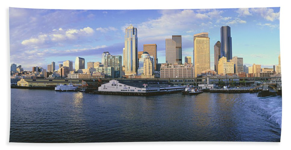 Photography Bath Sheet featuring the photograph This Is The Skyline And Harbor by Panoramic Images