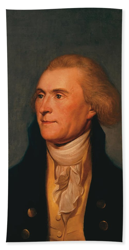 Thomas Jefferson Bath Sheet featuring the painting Thomas Jefferson by War Is Hell Store