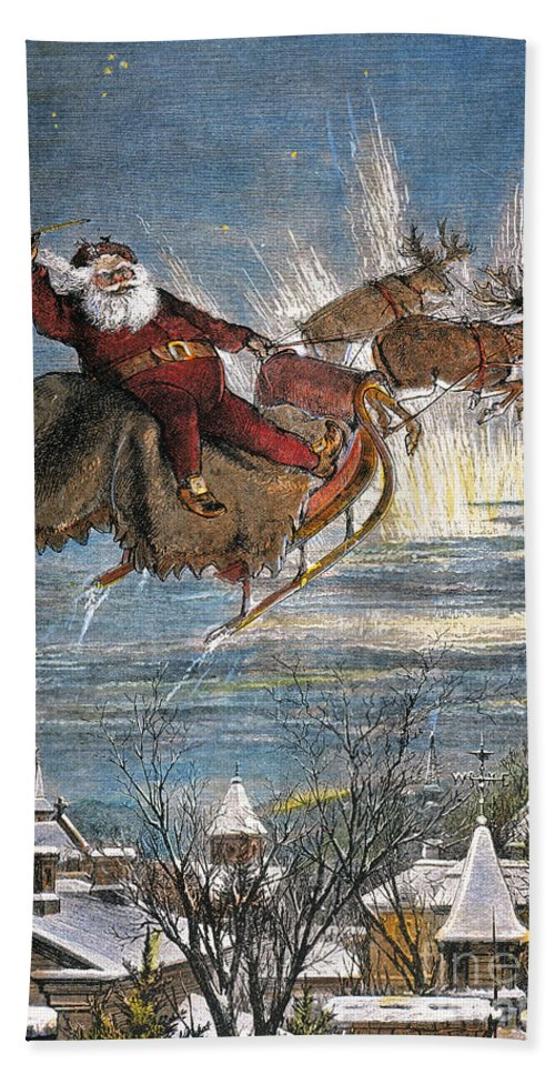 19th Century Hand Towel featuring the photograph Thomas Nast: Santa Claus by Granger