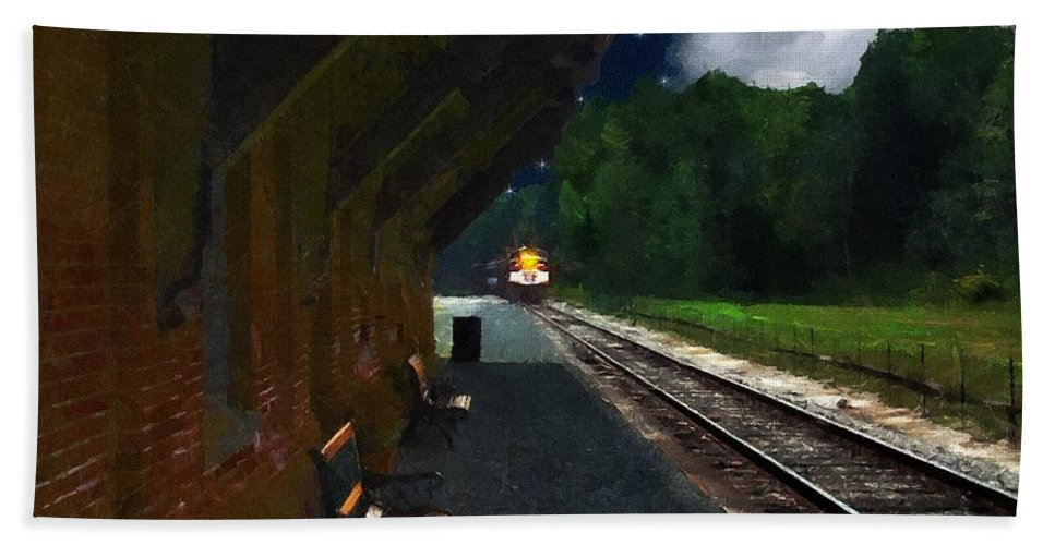 Autumn Hand Towel featuring the painting Thomaston Train At Night by RC DeWinter