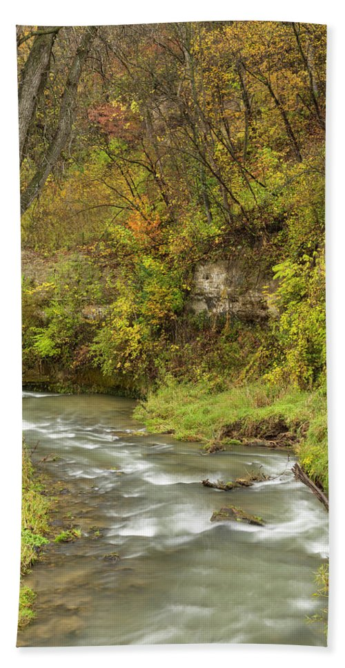 River Hand Towel featuring the photograph Thompson Creek Autumn 1 B by John Brueske
