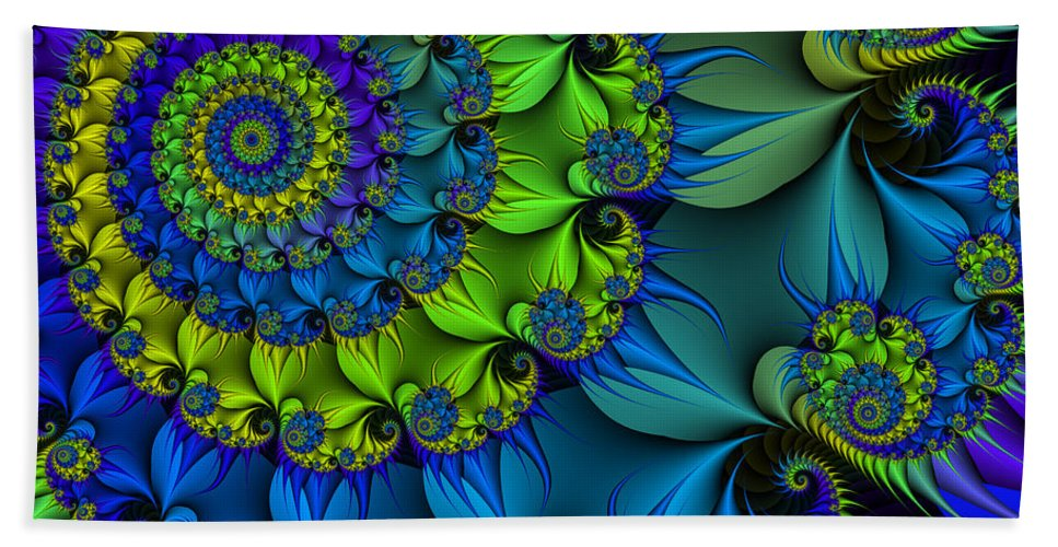 Fractal Bath Sheet featuring the digital art Thorn Flower by Jutta Maria Pusl