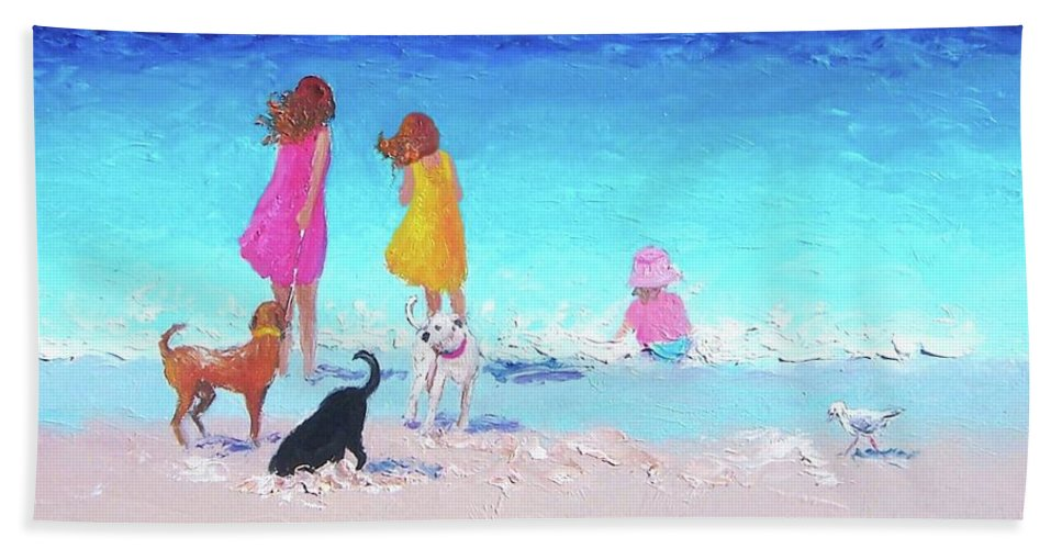 Beach Hand Towel featuring the painting Those Summer Days by Jan Matson